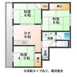 ビレッジハウス豊川 1号棟[5階]の間取り