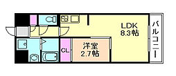 グランドステージ十三 3階1LDKの間取り