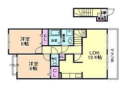 兵庫県川西市西多田1丁目の賃貸アパートの間取り