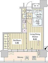 ユニゾンタワー 20階1LDKの間取り