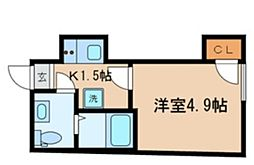 東京メトロ東西線 落合駅 徒歩3分の賃貸マンション 2階1Kの間取り