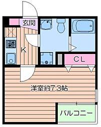 (仮称)葛飾区小菅4丁目共同住宅新築工事 2階1Kの間取り