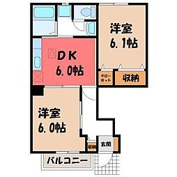 栃木県栃木市新井町の賃貸マンションの間取り