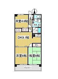 清水山第2パークハイツ[2階]の間取り