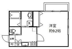 クレサージュ新松戸 3階1Kの間取り