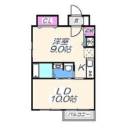 ブランカ堺東 10階1LDKの間取り