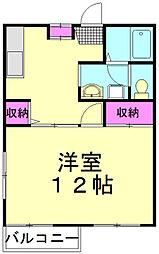 JR武蔵野線 新座駅 徒歩12分の賃貸アパート 2階1DKの間取り