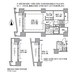 JR山手線 浜松町駅 徒歩3分の賃貸マンション 5階1Kの間取り