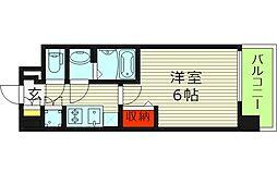 レジュールアッシュ都島ブリーゼ 2階1Kの間取り