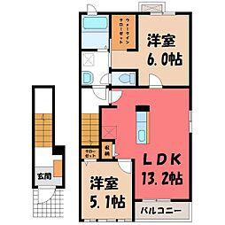 栃木県栃木市大平町下皆川の賃貸アパートの間取り