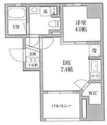 KDXレジデンス神田 4階1DKの間取り
