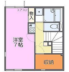 東武東上線 東松山駅 徒歩17分の賃貸アパート 2階1Kの間取り