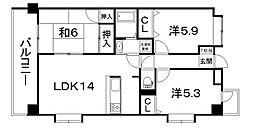 モンアルカディア三宅弐番館[803号室]の間取り