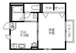 リッチライフ八坂[201号室]の間取り