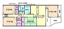 阪急日生ニュータウン花咲く丘の街B棟[1階]の間取り