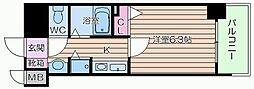大阪府大阪市中央区博労町3丁目の賃貸マンションの間取り