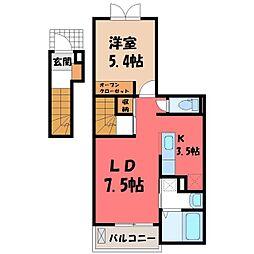 栃木県宇都宮市八千代1の賃貸アパートの間取り
