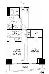 河田町コンフォガーデン1号棟[22階]の間取り