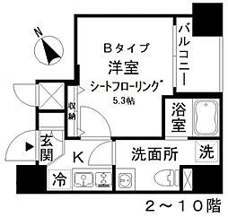 アイディ西五反田 7階1Kの間取り