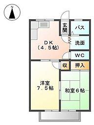 愛知県愛知郡東郷町春木台3丁目の賃貸アパートの間取り