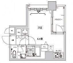 ハーモニーレジデンス早稲田夏目坂 4階ワンルームの間取り