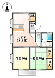 埼玉県草加市長栄3の賃貸アパートの間取り