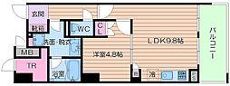 近鉄難波線 大阪上本町駅 徒歩5分の賃貸マンション 4階1LDKの間取り