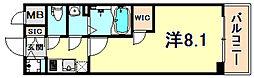 神戸高速東西線 高速神戸駅 徒歩1分の賃貸マンション 7階1Kの間取り