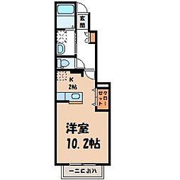 栃木県宇都宮市松原1丁目の賃貸アパートの間取り