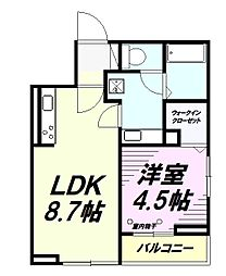 JR中央線 豊田駅 徒歩24分の賃貸アパート 3階1LDKの間取り