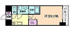 阪神本線 姫島駅 徒歩6分の賃貸マンション 3階1Kの間取り