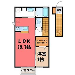 栃木県宇都宮市西川田町の賃貸アパートの間取り