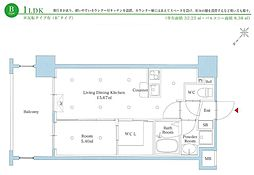 西鉄天神大牟田線 雑餉隈駅 徒歩2分の賃貸マンション 10階1LDKの間取り