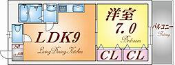 兵庫県神戸市長田区萩乃町3丁目の賃貸アパートの間取り