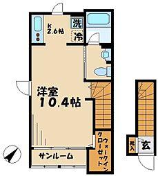 京王相模原線 南大沢駅 徒歩26分の賃貸アパート 2階1Kの間取り