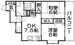 パレ東中振II[3階]の間取り