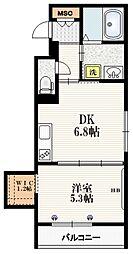 Mervelle oku-ekimae 3階1DKの間取り