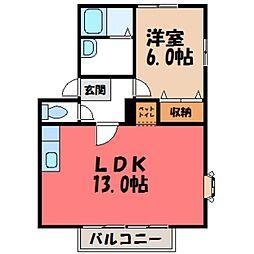 メゾンドゥルミエール B棟[2階]の間取り