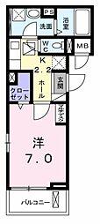 サン・クオーレ 2階1Kの間取り