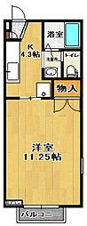 福島県郡山市富久山町久保田字桝形の賃貸アパートの間取り