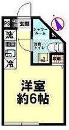 東武東上線 志木駅 徒歩2分の賃貸マンション 3階ワンルームの間取り