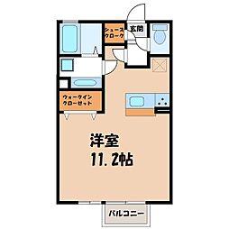 茨城県筑西市稲野辺の賃貸アパートの間取り