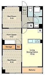 第2村上ビル 4階3LDKの間取り