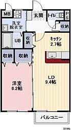静岡県袋井市鷲巣の賃貸アパートの間取り
