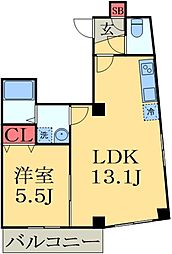 JR外房線 本千葉駅 徒歩5分の賃貸マンション 4階1DKの間取り