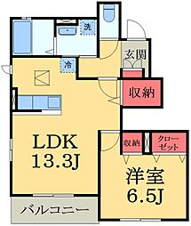 JR外房線 大網駅 徒歩19分の賃貸アパート 1階1LDKの間取り