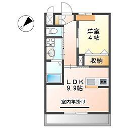 JR阪和線 下松駅 徒歩30分の賃貸アパート 2階1LDKの間取り