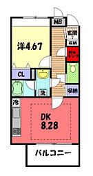 JR横浜線 八王子みなみ野駅 徒歩9分の賃貸マンション 1階1DKの間取り