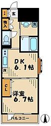 小田急多摩線 唐木田駅 徒歩2分の賃貸マンション 3階1DKの間取り
