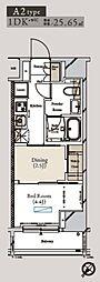 都営大江戸線 月島駅 徒歩1分の賃貸マンション 7階1DKの間取り